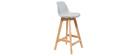 Taburete diseño gris claro y madera 65cm lote dos MINI PAULINE