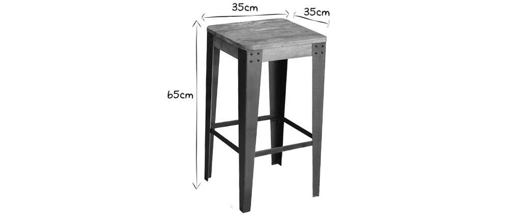 Taburete diseño industrial metal y madera 65cm MADISON