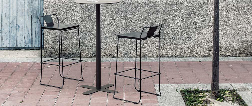 Taburete exteiror diseño metal negro 76cm TENERIFE