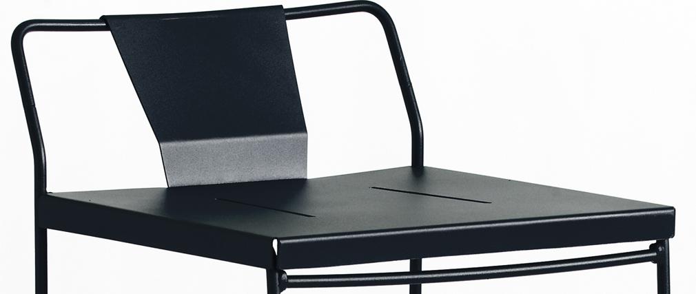 Taburete exterior diseño metal negro 65cm TENERIFE