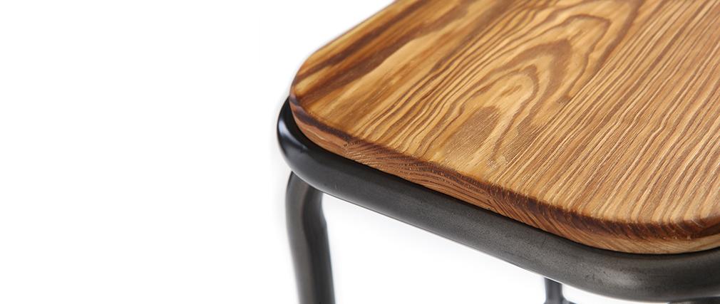 Taburete industrial inox y madera oscura 65 cm lote de 2 MEMPHIS