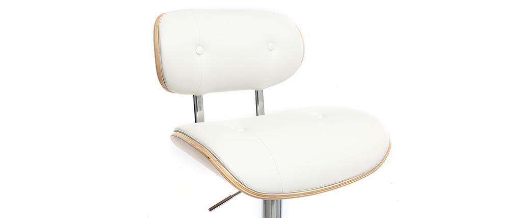 Taburete moderno/vintage polipiel blanco y madera clara MARTY