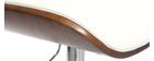 Taburete moderno/vintage polipiel blanco y madera oscura MARTY