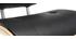 Taburete moderno/vintage polipiel negro y madera clara MARTY