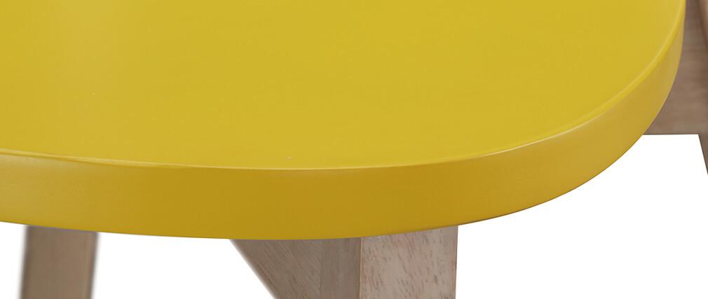 Taburete nórdico amarillo y madera 65cm lote de 2 LEENA