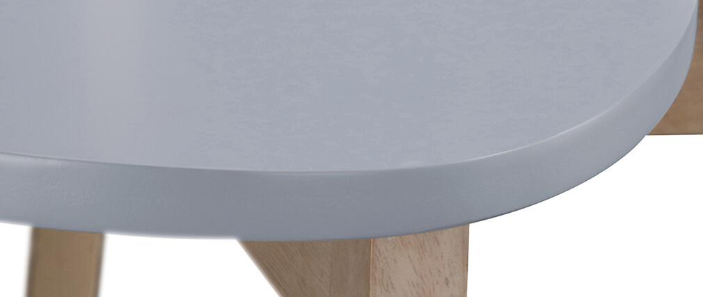 Taburete nórdico gris y madera 65cm lote de 2 LEENA