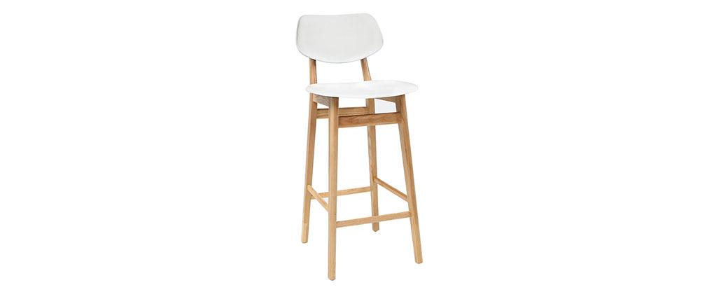 Taburete / silla de bar diseño blanco y madera natural NORDECO