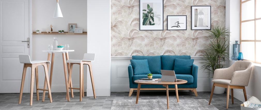 Taburete / silla de bar diseño madera natural y blanco escandinavo BALTIK