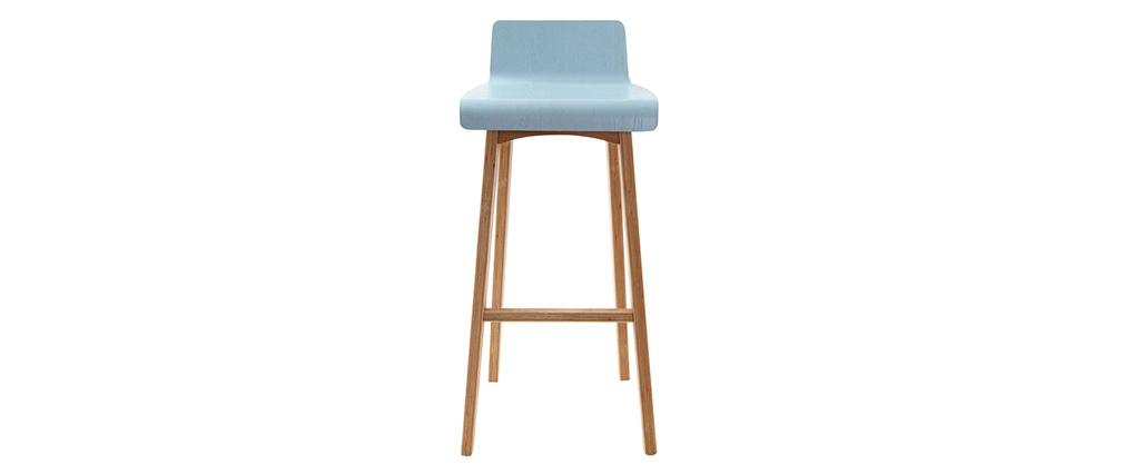 Taburete / silla de bar diseño madera tintada azul escandinavo BALTIK