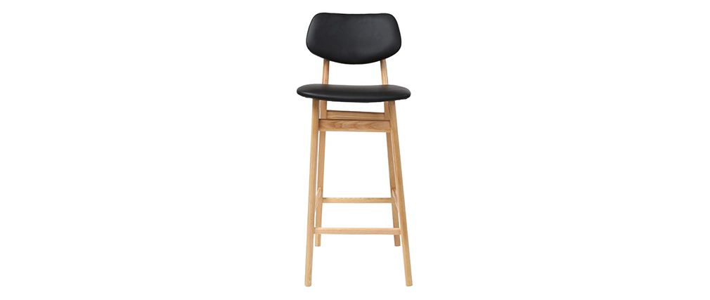 Taburete / silla de bar diseño negro y madera natural 65 cm NORDECO