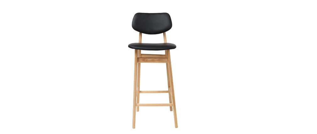 Taburete / silla de bar diseño negro y madera natural NORDECO