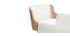 Taburete  vintage polipiel blanco y madera clara RAY
