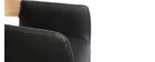 Taburete  vintage polipiel negro y madera clara RAY