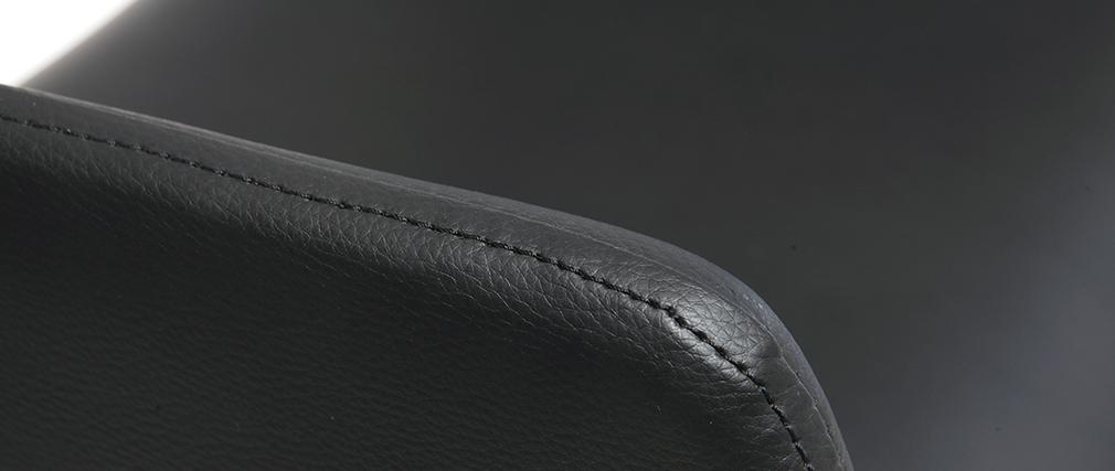 Taburete  vintage polipiel negro y madera oscura RAY