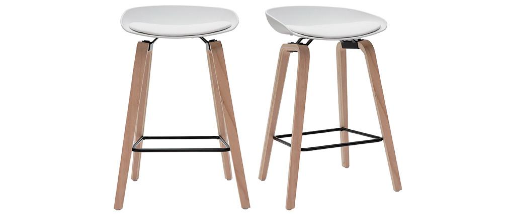 Taburetes de bar blanco y patas madera 65 cm (lote de 2) LINO