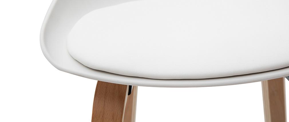 Taburetes de bar blanco y patas madera 75 cm (lote de 2) LINO