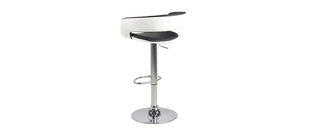 Taburetes de bar diseño lote de 2 negro y blanco imitación cuero GRAVIT V2