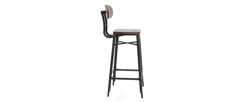 Taburetes de bar en madera y metal negro A75 cm - lote de 2 HOCKER