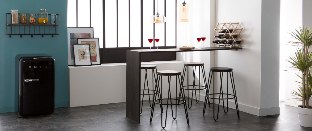 Taburetes de bar en metal negro y madera A75 cm - lote de 2 IGLA