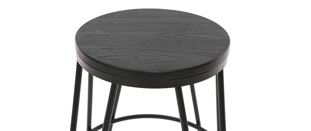 Taburetes de bar en metal negro y madera negra A65 cm - lote de 2 IGLA