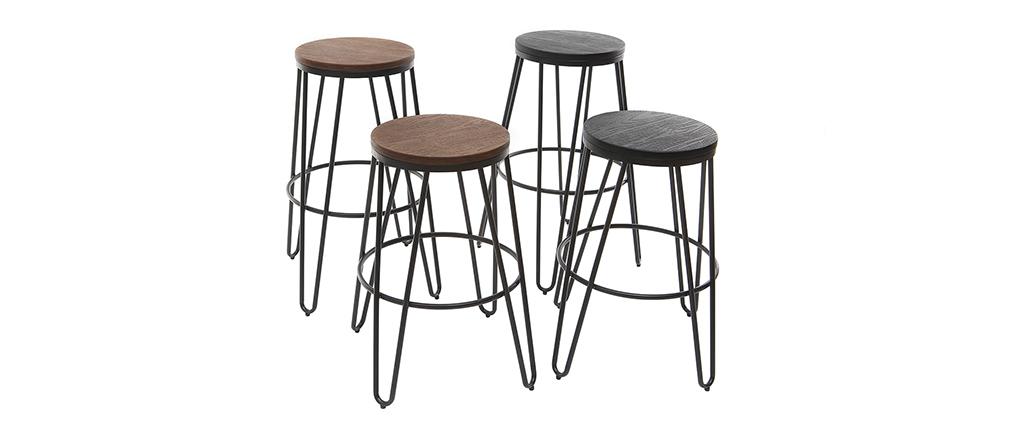 Taburetes de bar en metal negro y madera negra A75 cm - lote de 2 IGLA