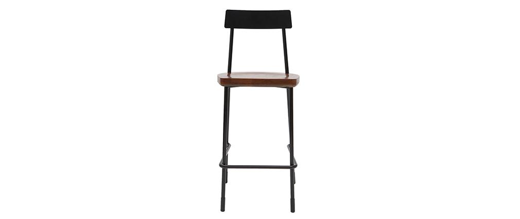 Taburetes de bar industriales metal y madera negra 65 cm (lote de 2) OUDIN
