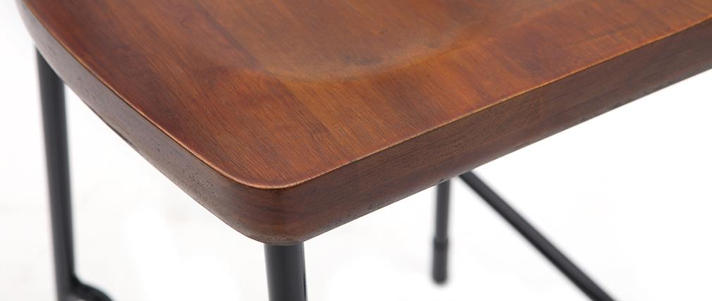 Taburetes de bar industriales metal y madera negra 75 cm (lote de 2) OUDIN