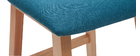 Taburetes de bar madera clara y tejido azul petróleo lote de 2 OSAKA