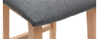 Taburetes de bar madera clara y tejido gris lote de 2 OSAKA