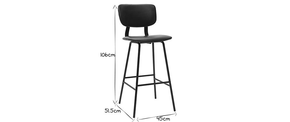 Taburetes de bar moderno negro con patas metal 75 cm (lote de 2) LAB