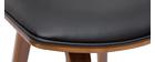 Taburetes de bar moderno negro y madera oscura A69 cm (lote de 2) VASCO