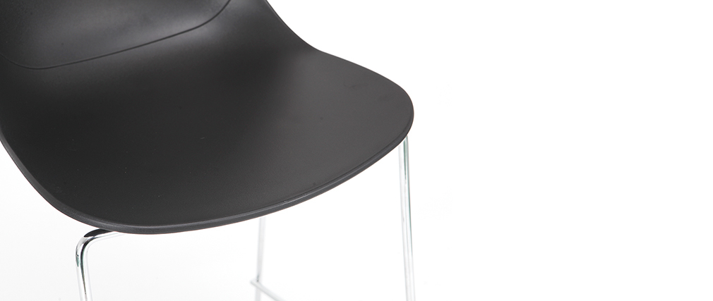 Taburetes de bar modernos apilables negros 76.5 cm - lote de 2 TROCADERO