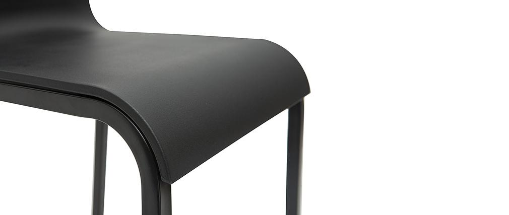Taburetes de bar modernos apilables negros A65 cm (lote de 2) KUPA