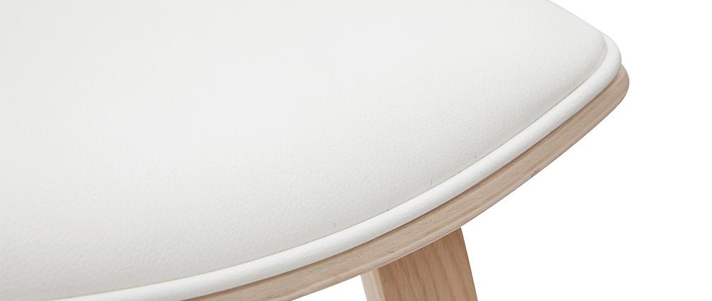 Taburetes de bar modernos blanco y madera clar A69 cm (lote de 2) VASCO