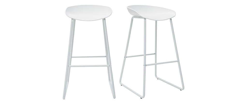 Taburetes de bar modernos blancos con patas en metal (lote de 2) PEBBLE