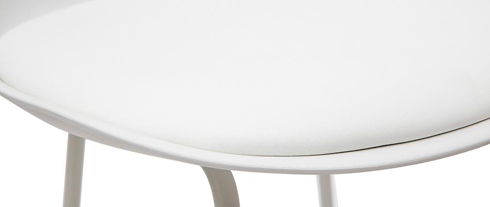 Taburetes de bar modernos blancos patas metal 65 cm (lote de 2) FRANZ