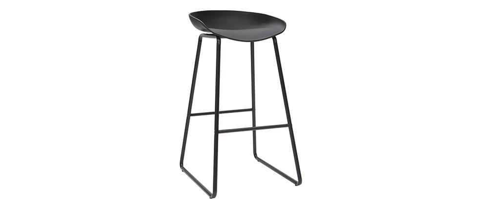 Taburetes de bar modernos negros con patas en metal (lote de 2) PEBBLE