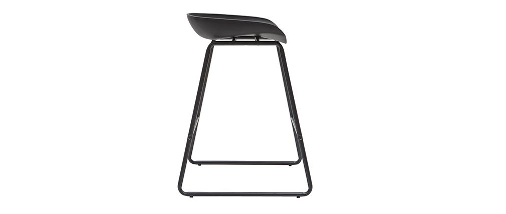Taburetes de bar modernos negros con patas en metal 65 cm (lote de 2) PEBBLE