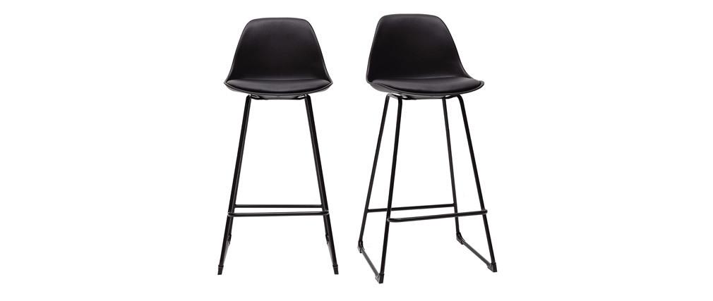 Taburetes de bar modernos negros patas metal 65 cm (lote de 2) FRANZ