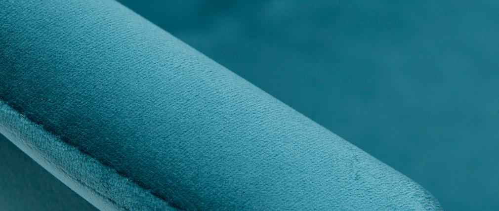 Taburetes de bar modernos regulables terciopelo azul petróleo (lote de 2) TAYA