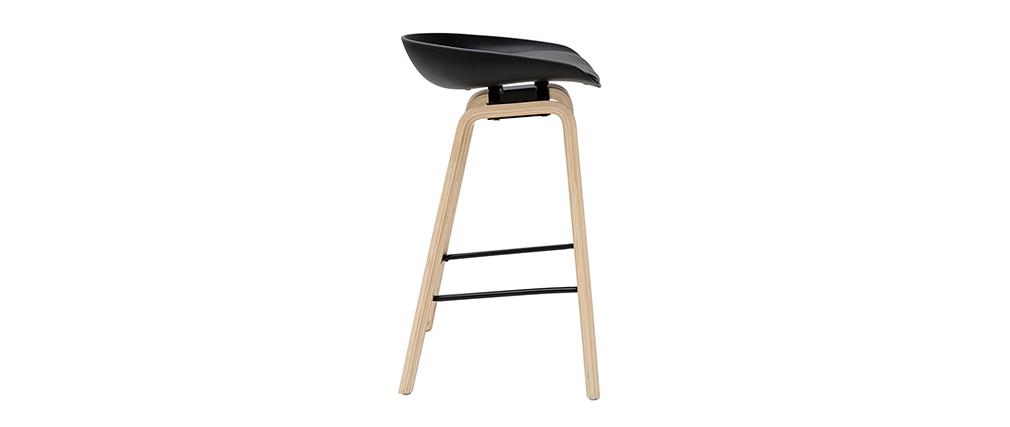 Taburetes de bar negro y patas madera 65 cm (lote de 2) LINO