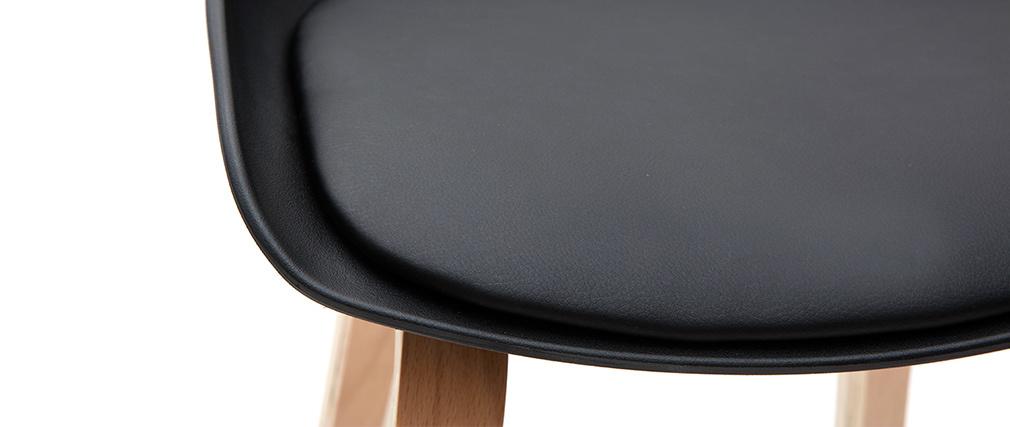 Taburetes de bar negro y patas madera 75 cm (lote de 2) LINO