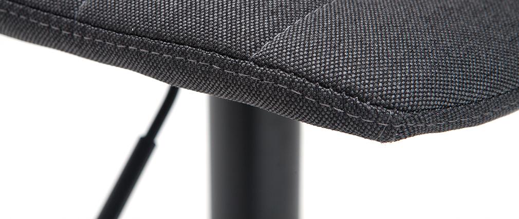 Taburetes de bar regulables tejido y metal gris oscuro (lote de 2) SAURY