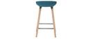 Taburetes de bar tejido azul petróleo y patas madera A65 cm (lote de 2) LINO