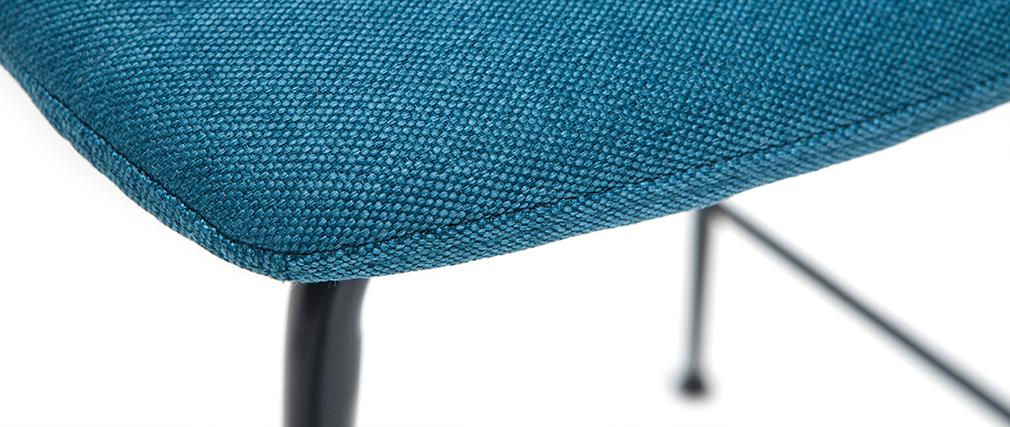 Taburetes de bar tejido y metal azul petróleo 65 cm (lote de 2) SAURY