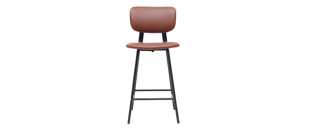 Taburetes de bar vintage marrón claro con patas en metal 65cm (lote de 2) LAB