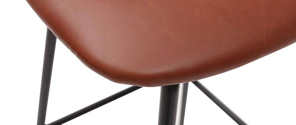 Taburetes de bar vintage marrón claro con patas metal 75 cm (lote de 2) LAB