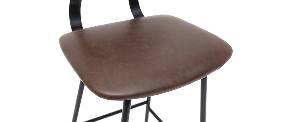 Taburetes de bar vintage marrón con patas en metal 65cm (lote de 2) LAB