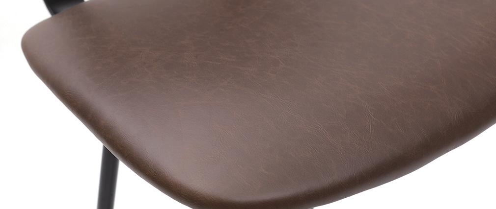 Taburetes de bar vintage marrón oscuro con patas metal 75 cm (lote de 2) LAB