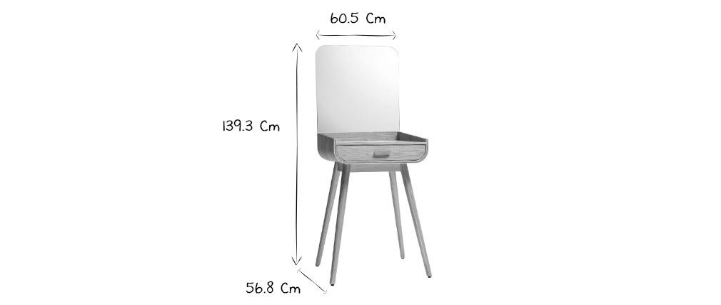 Tocador moderno con almacenaje y espejo fresno HALLEN